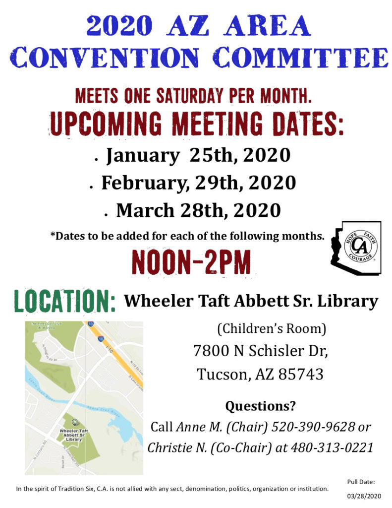 2020 C.A. Arizona Area Convention Committee Meeting @ Wheeler Taft Abbett Sr. Library